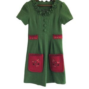 Charming felted wool mini dress size 4